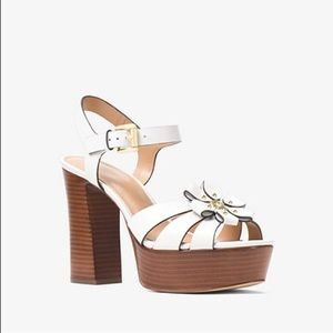 Michael Kors Tara Floral Leather Platform Sandal